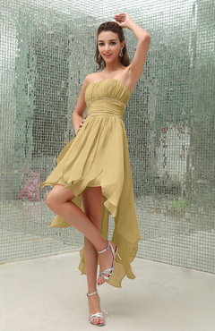 Gold Plain Sleeveless Zipper Chiffon Ankle Length Ruching Wedding Guest Dresses