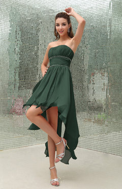 Hunter Green Plain Sleeveless Zipper Chiffon Ankle Length Ruching Wedding Guest Dresses