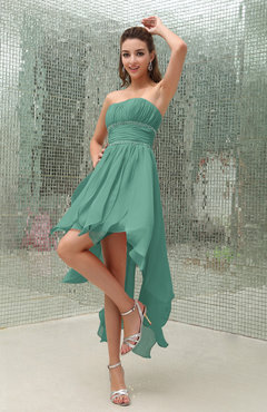 Mint Green Plain Sleeveless Zipper Chiffon Ankle Length Ruching Wedding Guest Dresses