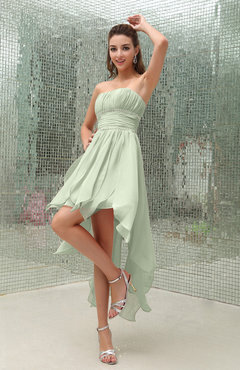 Pale Green Plain Sleeveless Zipper Chiffon Ankle Length Ruching Wedding Guest Dresses