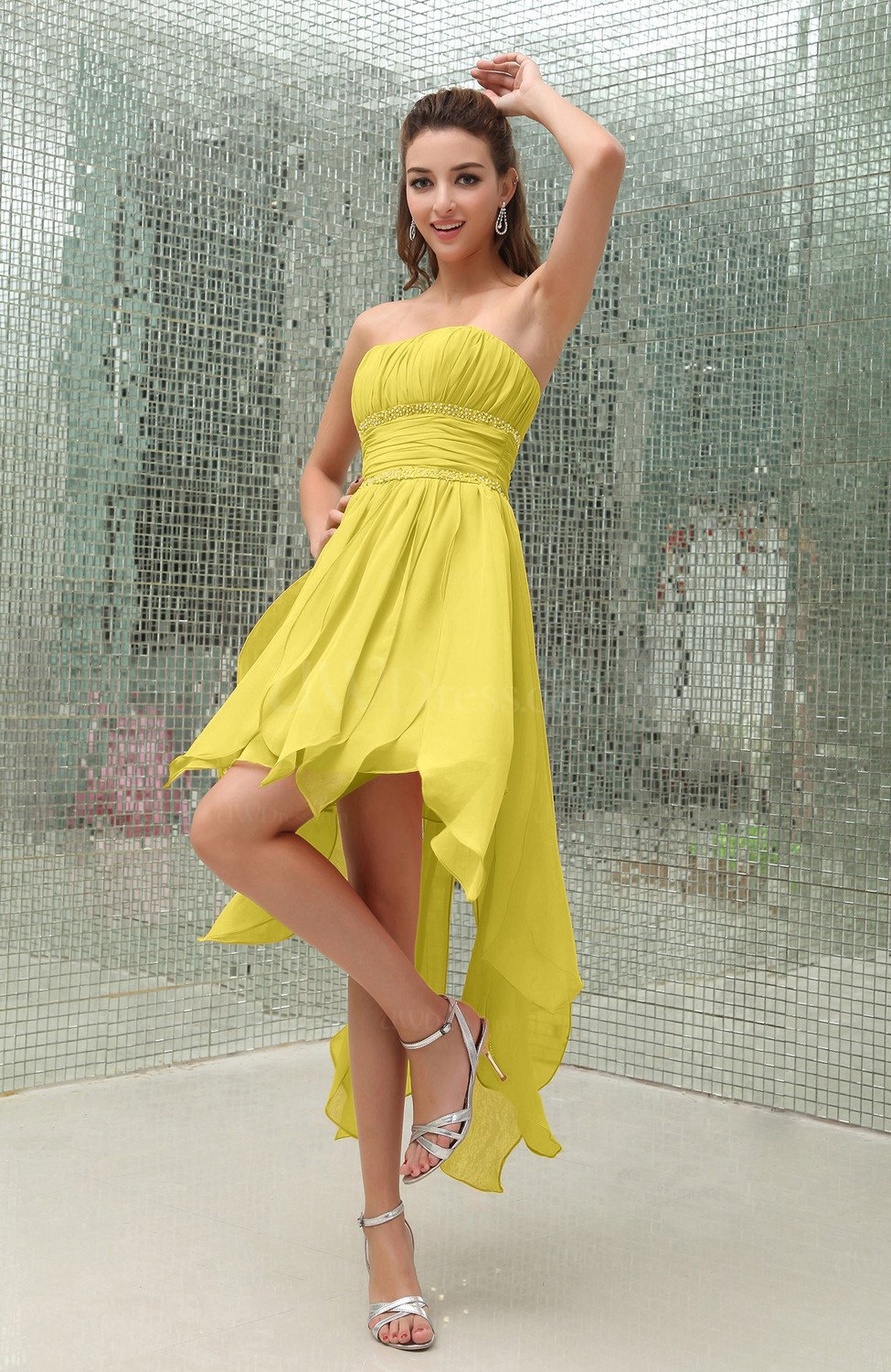 Pale yellow plain sleeveless zipper chiffon ankle length for Yellow dresses for wedding guests