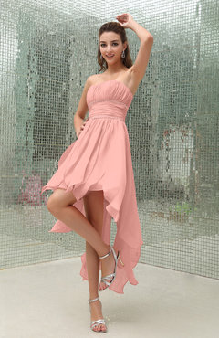 Peach Plain Sleeveless Zipper Chiffon Ankle Length Ruching Wedding Guest Dresses