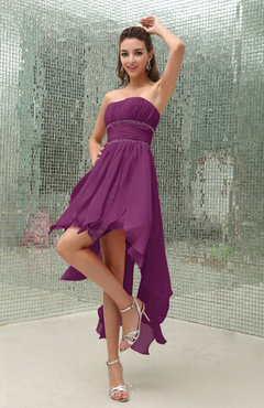 Raspberry Plain Sleeveless Zipper Chiffon Ankle Length Ruching Wedding Guest Dresses