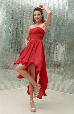 Red Plain Sleeveless Zipper Chiffon Ankle Length Ruching Wedding Guest Dresses