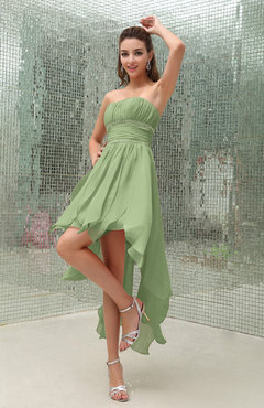 Sage Green Plain Sleeveless Zipper Chiffon Ankle Length Ruching Wedding Guest Dresses