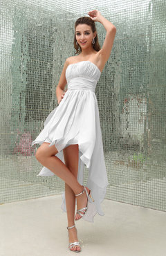 White Plain Sleeveless Zipper Chiffon Ankle Length Ruching Wedding Guest Dresses
