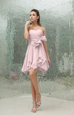 Blush Plain A-line Sweetheart Zipper Mini Ruffles Bridesmaid Dresses