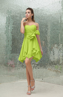 Bright Green Plain A-line Sweetheart Zipper Mini Ruffles Bridesmaid Dresses