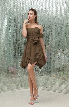Brown Plain A-line Sweetheart Zipper Mini Ruffles Bridesmaid Dresses