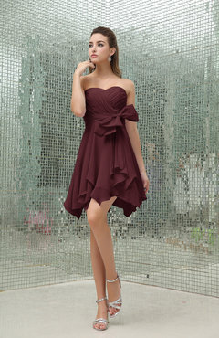 Burgundy Plain A-line Sweetheart Zipper Mini Ruffles Bridesmaid Dresses