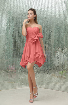 Coral Plain A-line Sweetheart Zipper Mini Ruffles Bridesmaid Dresses