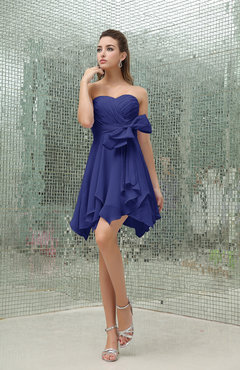 Electric Blue Plain A-line Sweetheart Zipper Mini Ruffles Bridesmaid Dresses