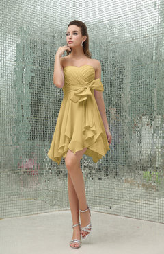 Gold Plain A-line Sweetheart Zipper Mini Ruffles Bridesmaid Dresses