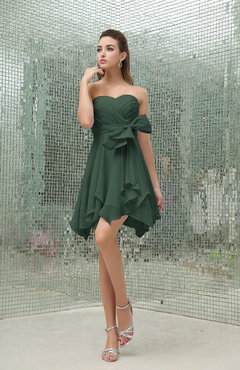 Hunter Green Plain A-line Sweetheart Zipper Mini Ruffles Bridesmaid Dresses