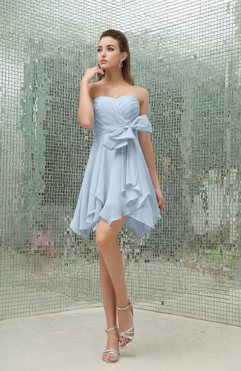 Ice blue plain a line sweetheart zipper mini ruffles for Wedding dresses with ruffles