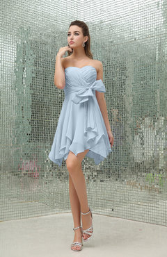Ice Blue Plain A-line Sweetheart Zipper Mini Ruffles Bridesmaid Dresses