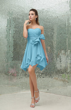 Light Blue Plain A-line Sweetheart Zipper Mini Ruffles Bridesmaid Dresses