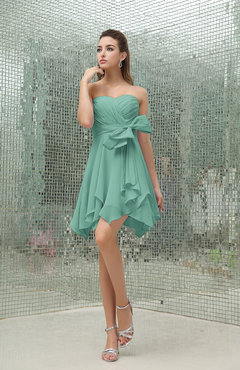 Mint Green Plain A-line Sweetheart Zipper Mini Ruffles Bridesmaid Dresses