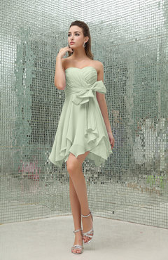 Pale Green Plain A-line Sweetheart Zipper Mini Ruffles Bridesmaid Dresses
