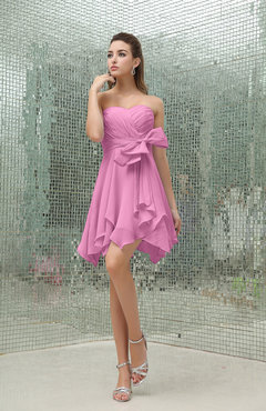 Pink Plain A-line Sweetheart Zipper Mini Ruffles Bridesmaid Dresses