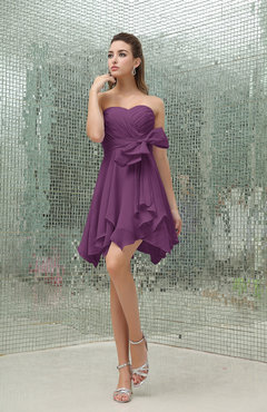 Raspberry Plain A-line Sweetheart Zipper Mini Ruffles Bridesmaid Dresses
