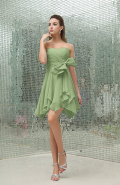 Sage Green Plain A-line Sweetheart Zipper Mini Ruffles Bridesmaid Dresses