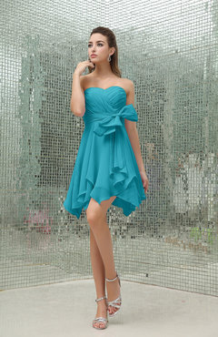 Teal Plain A-line Sweetheart Zipper Mini Ruffles Bridesmaid Dresses