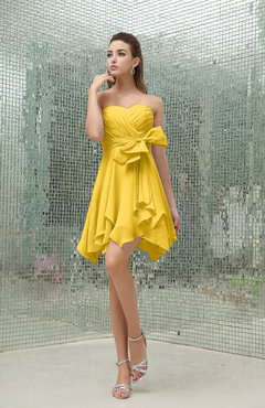 Yellow Plain A-line Sweetheart Zipper Mini Ruffles Bridesmaid Dresses
