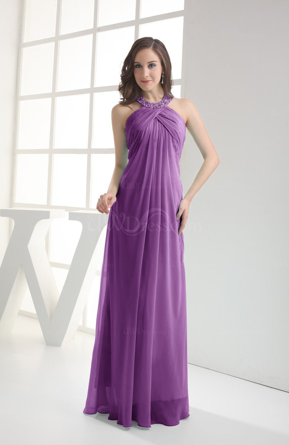 Dahlia Modest Sleeveless Backless Chiffon Floor Length Ruching ...