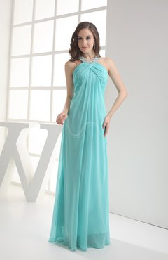 Modest Sleeveless Backless Chiffon Floor Length Ruching Bridesmaid Dresses