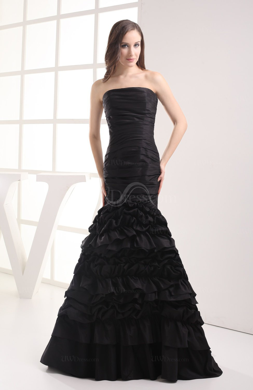 Black simple garden trumpet sleeveless zip up taffeta for How to dress up a black dress for a wedding