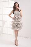 Elegant A-line Strapless Short Edging Wedding Guest Dresses