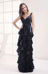 Plain Thick Straps Backless Floor Length Ruffles Party Dresses
