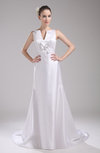 Elegant Hall V-neck Sleeveless Zip up Satin Bridal Gowns