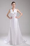 Elegant Hall V-neck Sleeveless Zip up Satin Bridal Gowns