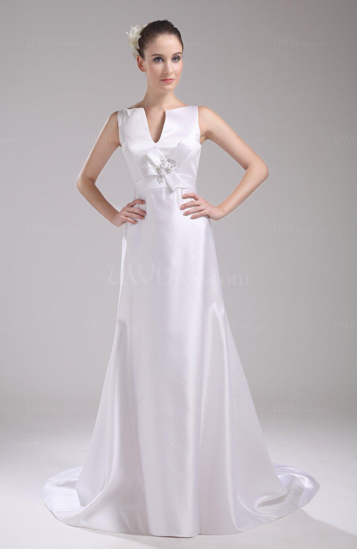 White elegant hall v neck sleeveless zip up satin bridal for Elegant satin wedding dresses