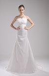 Elegant Church Strapless Taffeta Court Train Ruching Bridal Gowns