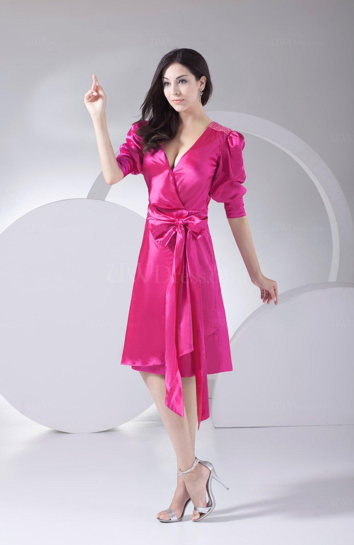 Hot Pink Antique A Line V Neck Silk Like Satin Knee Length