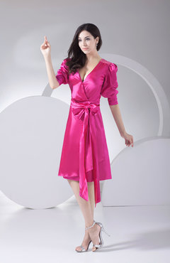 Hot Pink Antique A-line V-neck Silk Like Satin Knee Length Bridesmaid Dresses