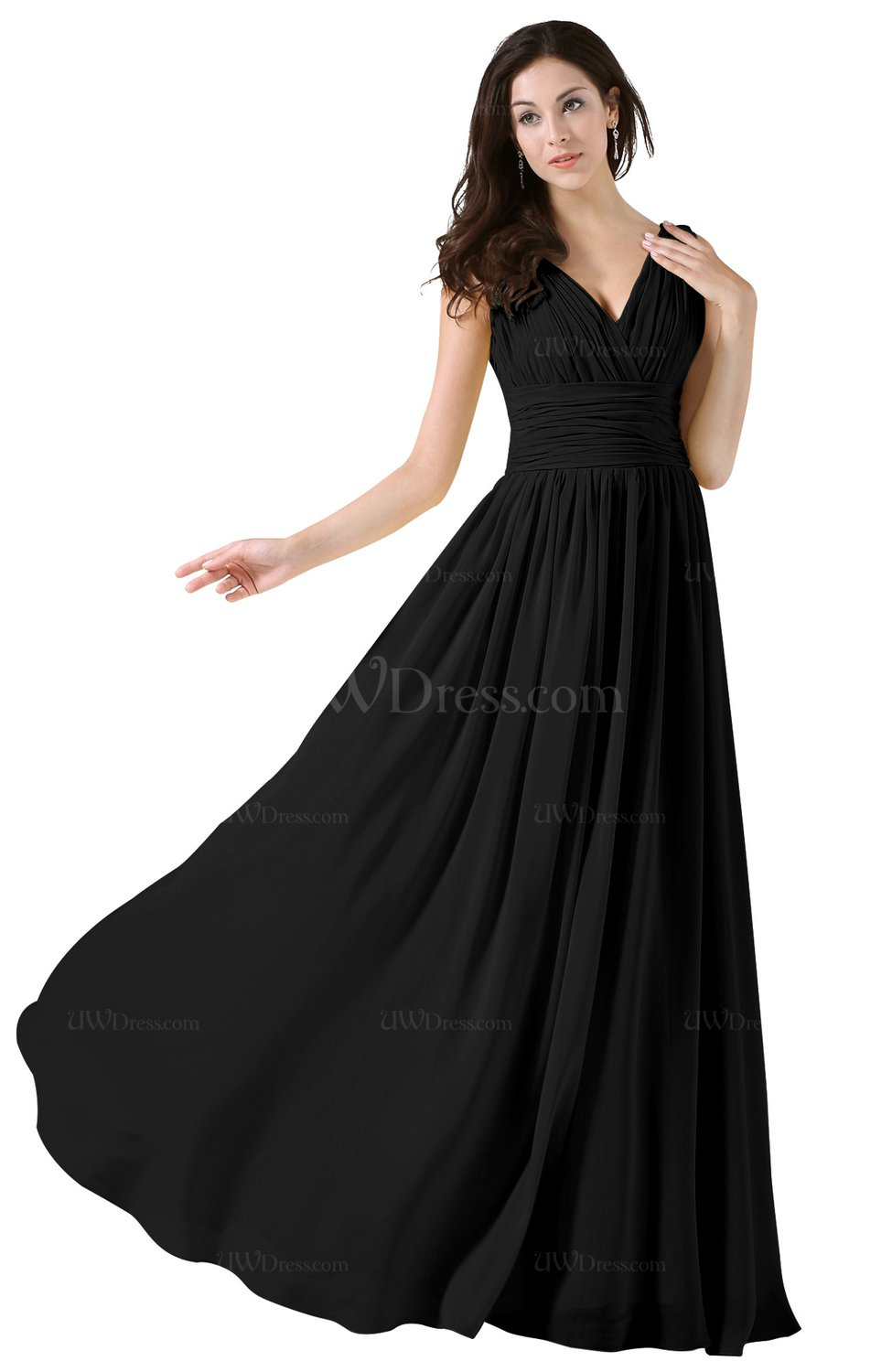 Elegant A Line V Neck Sleeveless Floor Length Ruching Party Dresses