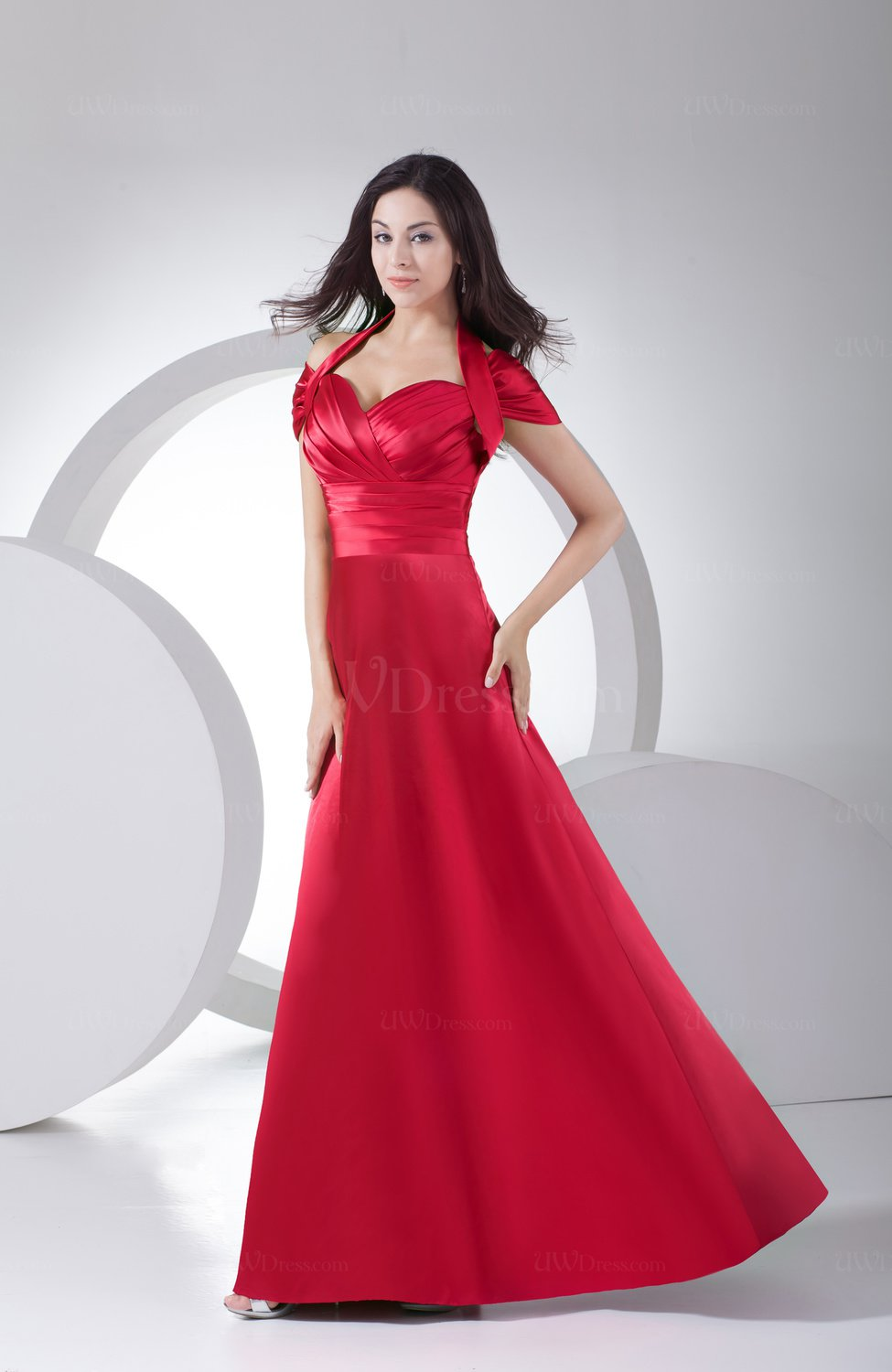 Vintage Sheath Zip up Silk Like Satin Floor Length Ruching ...