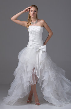 Glamorous Hall Strapless Sleeveless Backless Knee Length Bridal Gowns