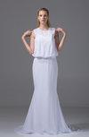 Classic Garden Trumpet Jewel Zip up Chiffon Bridal Gowns