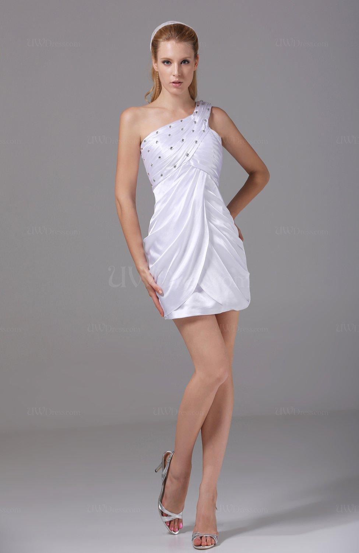 White Sexy Column Sleeveless Backless Silk Like Satin Mini