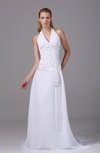Classic Garden Sleeveless Chiffon Court Train Ruching Bridal Gowns