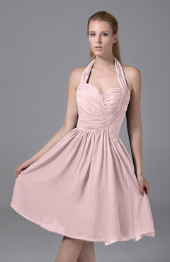 Blush Modest Halter Sleeveless Chiffon Knee Length Ruching Party Dresses