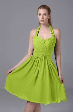 Bright Green Modest Halter Sleeveless Chiffon Knee Length Ruching Party Dresses
