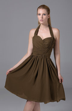 Brown Modest Halter Sleeveless Chiffon Knee Length Ruching Party Dresses