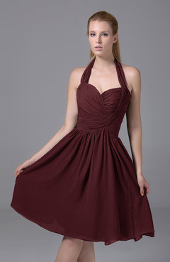 Burgundy Modest Halter Sleeveless Chiffon Knee Length Ruching Party Dresses