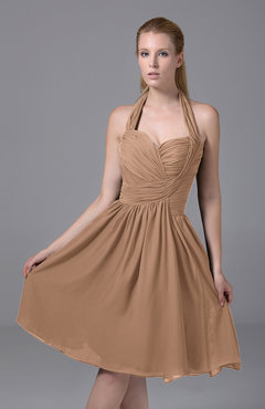 Burnt Orange Modest Halter Sleeveless Chiffon Knee Length Ruching Party Dresses